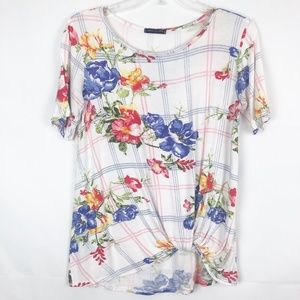 Sweet Claire I Plunge Twist Floral Short SleeveTop